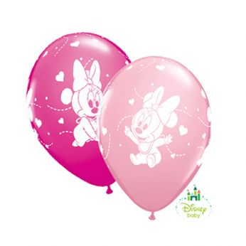 Qualatex Ballonnen Baby Minnie Mouse Hearts Wild Berry & Pink Q11 per 6 Stuks