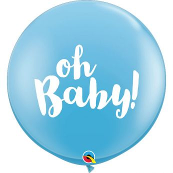 1 X 3FT (90 cm) Oh Baby Blauw Qualatex ballon