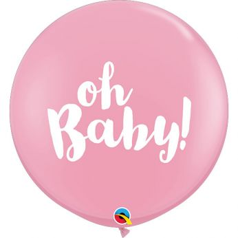 1 X 3FT (90 cm) Oh Baby Roze Qualatex ballon