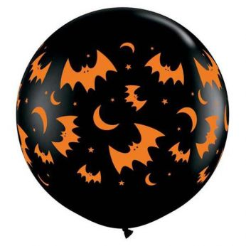 1 x 3ft Flying Bats & Moon zwart