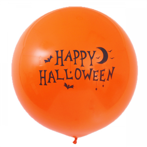 1 x 3ft (90 cm) Orange Happy Halloween Qualatex Ballon