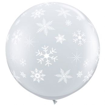 1 X 3FT (90 cm)  SNOWFLAKES DIAMOND CLEAR Qualatex ballonnen