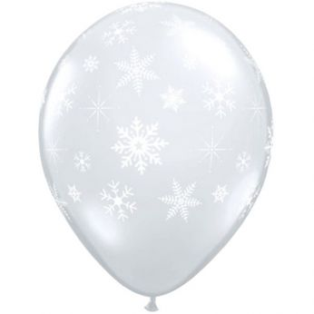 Qualatex Ballon Snowflakes Transparant  Q11 per 6 Stuks