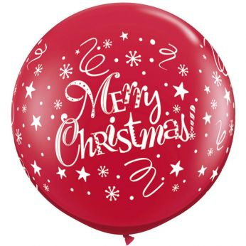 1 X 3FT (90 cm)  MERRY CHRISTMAS FESTIVE RUBY ROOD Qualatex ballonnen