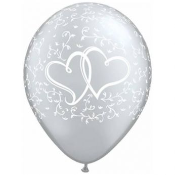 6 stuks 11 inch (28 cm) Silver Entwined Hearts Qualatex Ballonnen