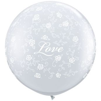 1 x 3ft (90 cm) Diamond Clear Love Roses Qualatex Ballon