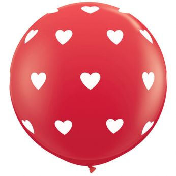 1 x 3ft (90 cm) Red Big Hearts Qualatex Ballon