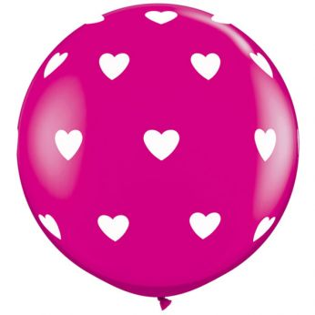 1 x 3ft (90 cm) Wild Berry Big Hearts Qualatex Ballon