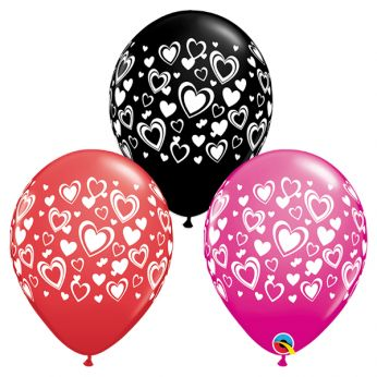 25 stuks 11 inch (28 cm) Onyx Black, Red & Wild Berry Double Hearts Qualatex Ballonnen