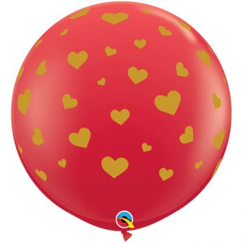 1 x 3ft (90 cm) Red Random Hearts Qualatex Ballon