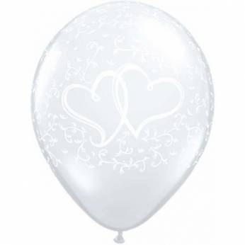 6 stuks 11 inch (28 cm) Diamond Clear Entwined Hearts Clear Qualatex Ballonnen