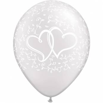 Bedrukte latex ballon entwined metallic wit 28cm 25 stuks