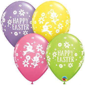 Qualatex Ballon Easter Bunnie & Daisies  Q11 per 6 Stuks