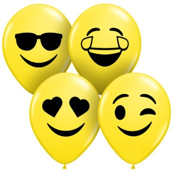 10 Stuks Q5 Yellow Smiley Faces Qualatex Ballonnen