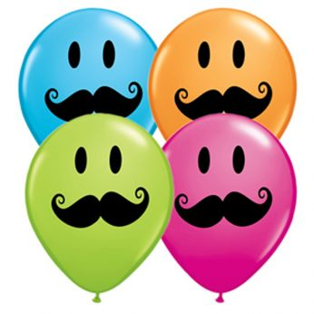 Qualatex Ballonnen Smiley Face Mustache Q11 per 6 Stuks