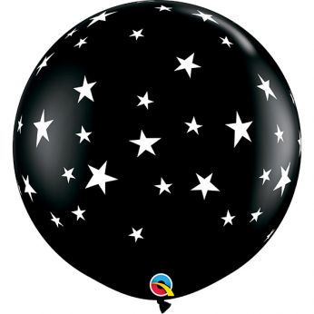1 X 3FT (90 cm) CONTEMPO STARS Black Onyx Qualatex ballonnen