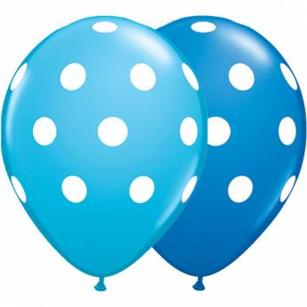 Bedrukte latex ballon dots egg's blue en dark blue 28 cm 25 stuks