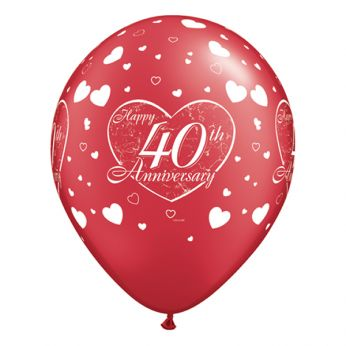Retail: 6 stuks 11 inch (28 cm) Ruby Red Happy 40th Anniversary Hearts Qualatex Ballonnen