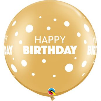 1 X 30 inch  BDAY GOLD LITTLE & BIG DOTS