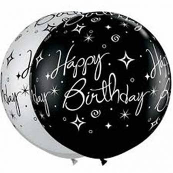 1 x 3ft (90 cm) Black Birthday Sparkles & Swirls Qualatex Ballon