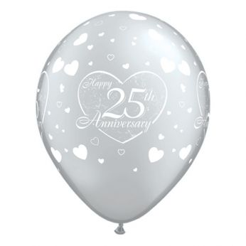 Retail: 6 stuks 11 inch (28 cm) Silver Happy 25th Anniversary Hearts Qualatex Ballonnen