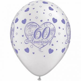 Retail: 6 stuks 11 inch (28 cm) Pearl White Happy 60th Anniversary Hearts Qualatex Ballonnen