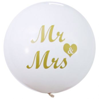 1 X 3ft (90 cm) White with Gold Ink Mr & Mrs Qualatex Ballon
