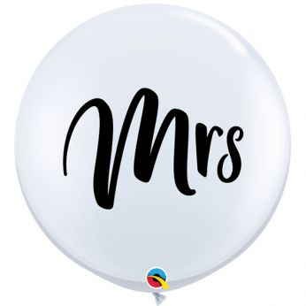 1 x 3ft (90 cm) White Mrs Qualatex Ballon