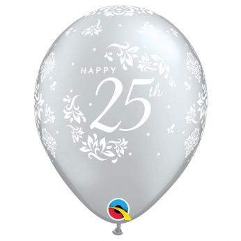 6 Stuks 11 inch (28 cm) Zilver Happy 25th Qualatex Ballon