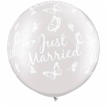 1 x 3ft (90 cm) Pearl White Just Married Butterflies Qualatex Ballon