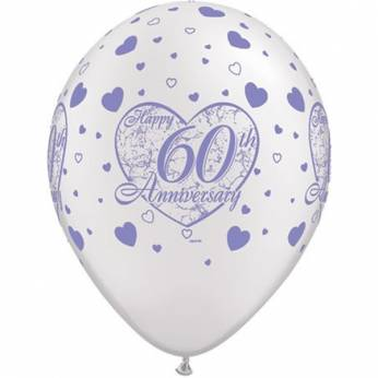 Bedrukte Latex Ballon 60th anniversary 6 stuks