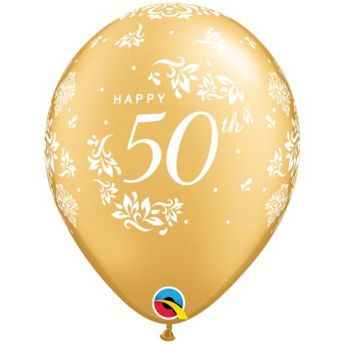 6 Stuks 11 inch (28 cm) Metallic Goud happy 50th Ballon