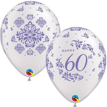 6 Stuks 11 inch (28 cm) Metallic Wit happy 60th Ballon