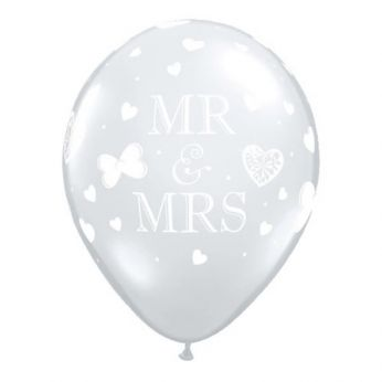 6 stuks 11 inch (28 cm) Diamond Clear Mr & Mrs Qualatex Ballonnen