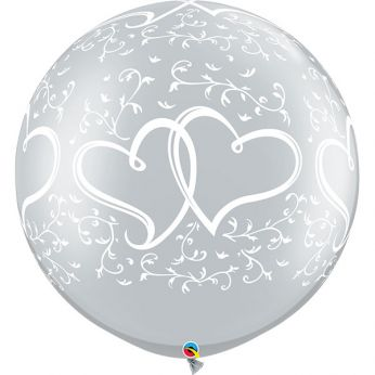 1 x 3ft (90 cm) Silver Entwined Hearts Qualatex Ballon