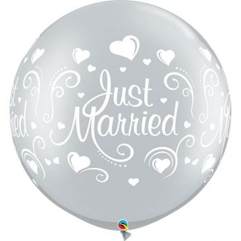 1 x 3ft (90 cm) Silver Just Married Hearts Qualatex Ballon