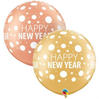 1 X 3FT (90 cm) New Year Dots Rose Gold Qualatex ballonnen