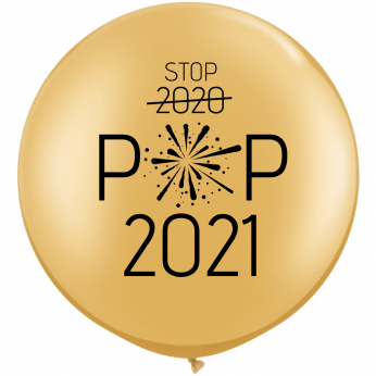 1 x 3ft (90 cm) Gold Stop 2020 Pop 2021 Qualatex Ballon