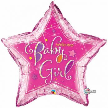 XL Folieballon Welcome Baby Girl Ster