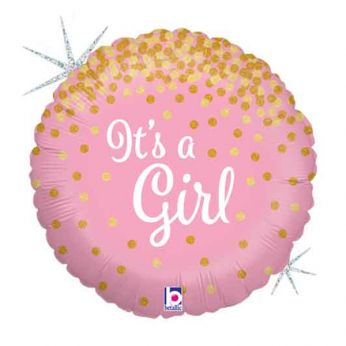 FOLIEBALLON GLITTER HOLOGRAPHIC IT'S A GIRL