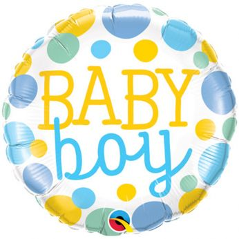 Folieballon Dots Baby Boy