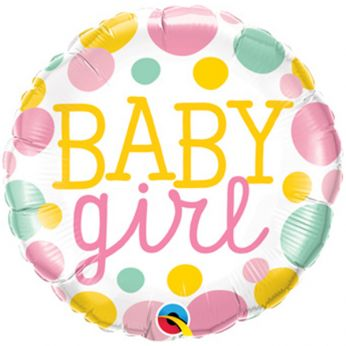 Folieballon Dots Baby Girl