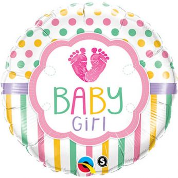 Folieballon Baby Girl love voetje