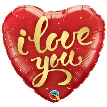 Folieballon hart i love you gold script