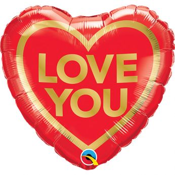 Folieballon love you golden heart