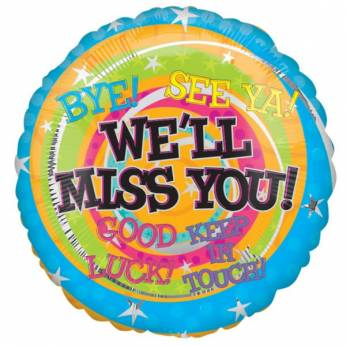 Folieballon met de Tekst: Miss you, Bye, See Ya