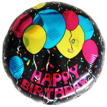 Folieballon Birthday Black Balloons