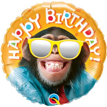 Folieballon Birthday Smiling Chimp