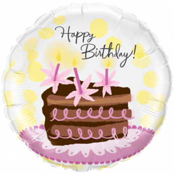 Helium Ballon Birthday Chocolate Cake Slice