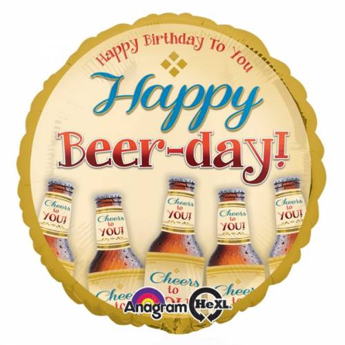 Folieballon Happy Birthday / Happy Beer-Day